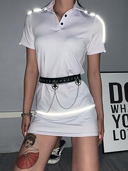 Turndown Collar Reflective Stripe Patchwork Short Sleeve Dress