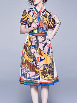 Vintage Printed Turndown Collar Short Sleeve Dress