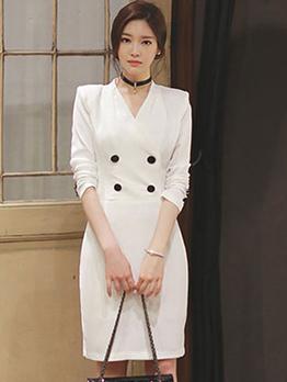 OL Style V Neck Long Sleeve Dress