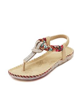 Shining Diamond Decor Thong Sandals For Beach