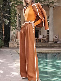 Contrast Color Wide Leg Work Suit For Women