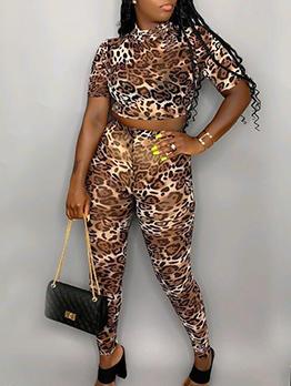 Animal Printed Bare Waist 2 Piece Outfits