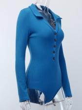 Deep V Knitting Long Sleeve Bodysuits