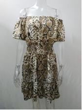 Off Shoulder Snake Printed Short Sleeve Dress