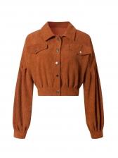 Corduroy Turndown Collar Short Coats