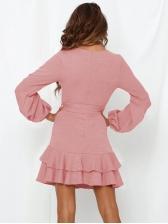 V Neck Tie Wrap Ruffled Long Sleeve Dress