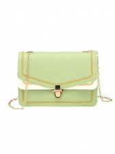 Embroidery Square Crossbody Bag With Chain