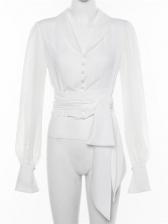 Ladies V Neck Binding Lightweight White Blouse