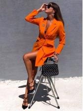 Fashion Solid Long Sleeve Blazer Dress
