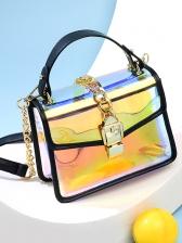 Metal Lock Cool Laser PVC Shoulder Bag
