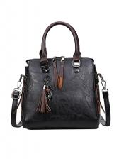 Simple Design Tassel Decor Large Handbags