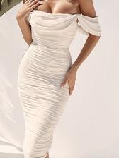 Solid Color Off Shoulder Pleated Ladies Dress