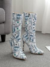 Creative Bill Printing Side Zipper Mid Calf Boots