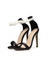 Round Toe Rhinestone Faux Pearls Decor Women Sandals