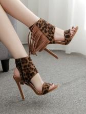 Tassel Decor Slingback Design Leopard Printed Sandals