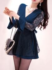 Lace Panel V Neck Long Sleeve Dress