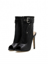 Peep-Toe Slingback Design Over The Ankle Boots