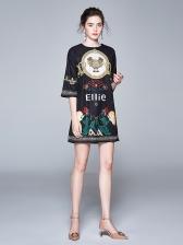 Crew Neck Printed Half Sleeve Casual Ladies Dress