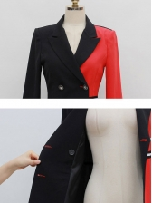 Contrast Color Double Breasted Blazer Dress