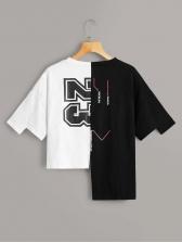 Contrast Color Printed Irregular T-Shirt For Women