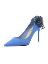 Suede Material Bow Design High Heels For Women