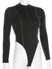 Mock Neck Striped Side Skinny Black Bodysuit