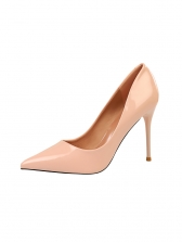 Ol Style Solid Pointed Toe Specular Pu High Heels