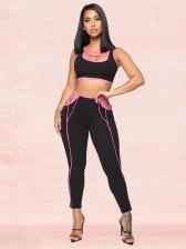 Contrast Color Crop Two Piece Pants Set