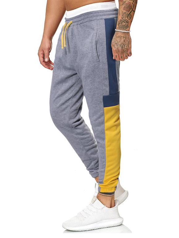 Contrast Color Drawstring Cotton Pants For Men