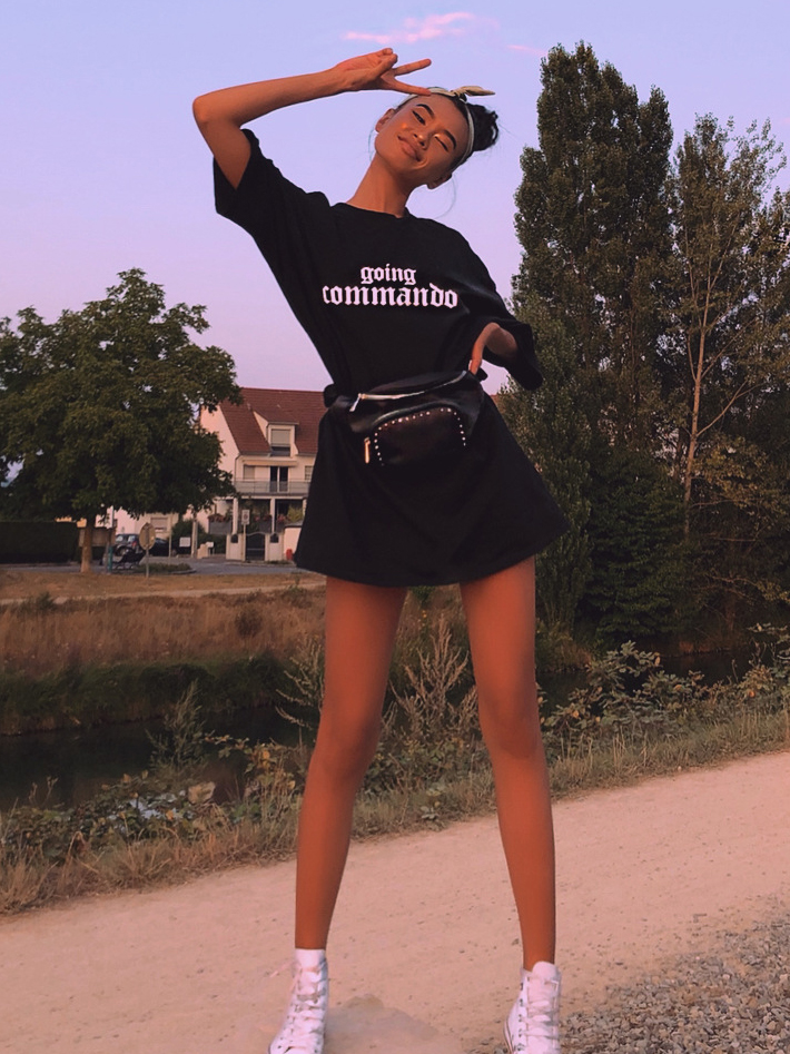 Casual Letter Printing Short Sleeve T-shirt Dress