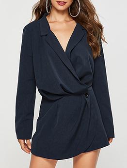 Casual V Neck Solid Blue Dress