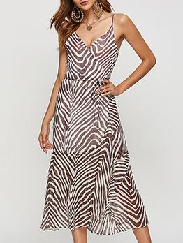 Stripe V Neck Sleeveless Dress