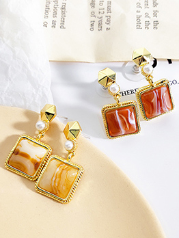 Vintage Geometric Square Earrings For Women