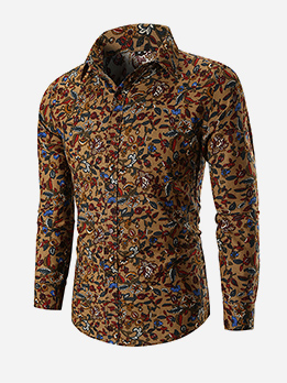Turndown Neck Flower Printing Fitted Shirts For Men