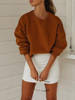 Crew Neck Solid Oversize Sweatshirt For Women