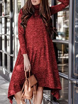 Solid Hight Neck Knitting Dress