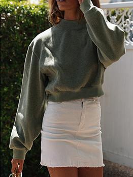 Stand Neck Solid Sweatshirt For Women