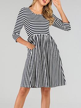 Stripe Three Quarter Sleeve Dress