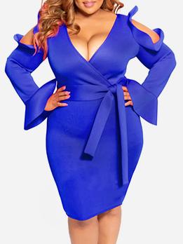 Deep V Neck Tie-Wrap Plus Size Long Sleeve Dress