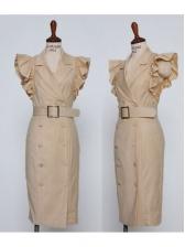 Solid Lapel Collar Cap Sleeve Dresses