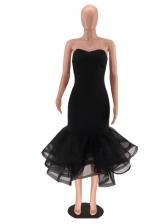 Sexy Solid Strapless Ruffled Hem Women Dresses