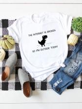 Summer Dinosaur Printed Short Sleeve Cotton T-shirt