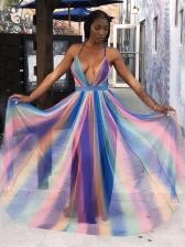 Sexy Gradient Backless Chiffon Maxi Dresses