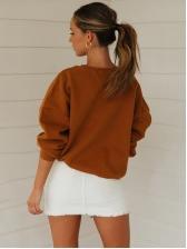 Crew Neck Solid Oversize Sweatshirt For Women