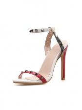 Contrast Color Rivet Ankle Buckle Heeled Sandals