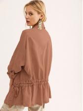 Turndown Neck Smart Waist Solid Long Coat