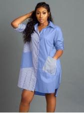 Stripe Patchwork Long Sleeve Shirt Dress