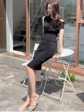 Off Shoulder Solid Color Slim Short Sleeve Dress