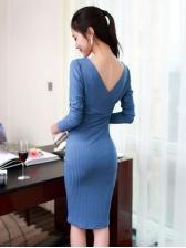 V Neck Smocked Waist Knitted Long Sleeve Dress