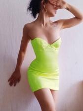 Sexy Bright Color Slim Women Strapless Dress